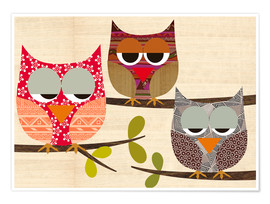 Premium poster Owls on wood Collage
