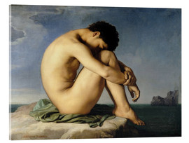Acrylic print  Naked young man is sitting by the sea - Hippolyte Flandrin