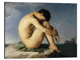 Aluminium print  Naked young man is sitting by the sea - Hippolyte Flandrin