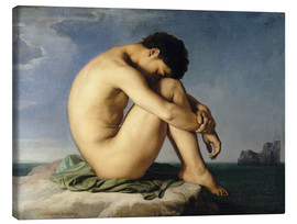 Canvas print  Naked young man is sitting by the sea - Hippolyte Flandrin