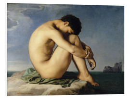 Foam board print  Naked young man is sitting by the sea - Hippolyte Flandrin