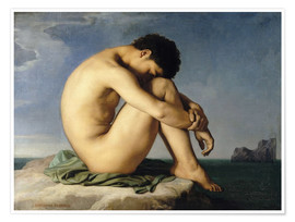 Premium poster Naked young man is sitting by the sea