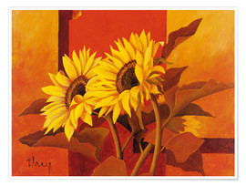 Premium poster Two sunflowers III