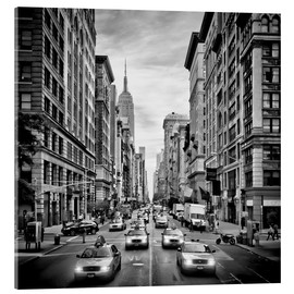 Acrylic glass  NYC 5th Avenue Traffic Monochrome - Melanie Viola