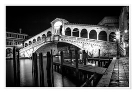 Premium poster VENICE Rialto Bbridge at Night