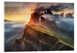 Acrylic print  Sunrise in the Dolomites at Seceda - Andreas Wonisch