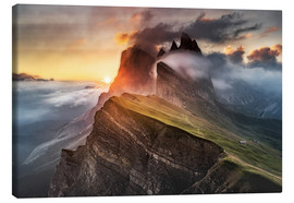 Canvas print  Sunrise in the Dolomites at Seceda - Andreas Wonisch