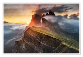 Premium poster  Sunrise in the Dolomites at Seceda - Andreas Wonisch
