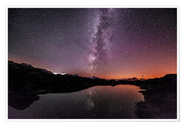 Premium poster Nightscape at small mountain lake at Legler mountain hut with galaxy  Glarus, Switzerland