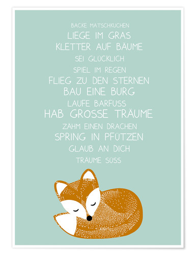 Premium poster Fox Poem (German)