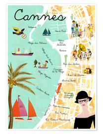 Premium poster  Cannes vintage Collage - GreenNest