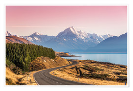 Premium poster Road to Aoraki, New Zealand