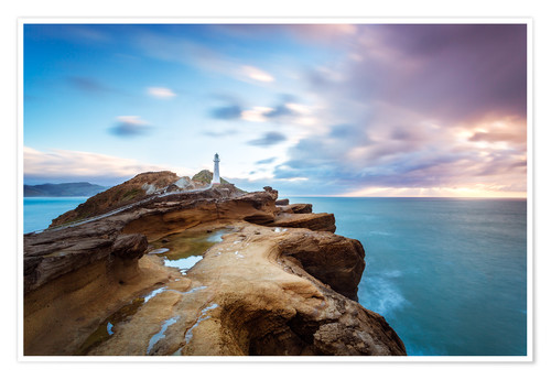 Premium poster Lighthouse and sea at sunrise on the coast of New Zealand