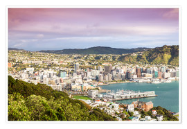Premium poster  Wellington in the morning, New Zealand - Matteo Colombo