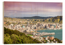 Wood print  Wellington in the morning, New Zealand - Matteo Colombo