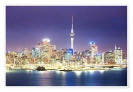 Premium poster Auckland city center skyline at night, New Zealand