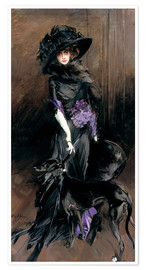 Premium poster Portrait of the Marchesa Luisa Casati with a greyhound