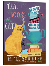 Aluminium print  Tea, books and a cat - Elisandra Sevenstar