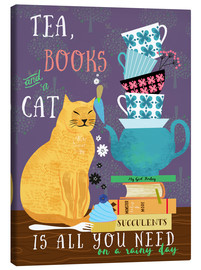 Canvas print  Tea, books and a cat - Elisandra Sevenstar