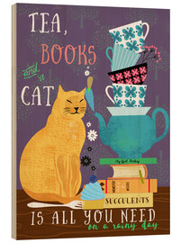 Wood print  Tea, books and a cat - Elisandra Sevenstar