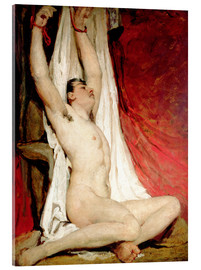 Acrylic print  Male Nude, with Arms Up Stretched - William Etty