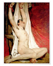 Premium poster Male Nude, with Arms Up Stretched