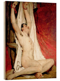 Wood print  Male Nude, with Arms Up Stretched - William Etty