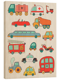 Wood print  So many cars - Petit Griffin