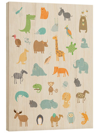 Wood print  All my zoo animals - Petit Griffin