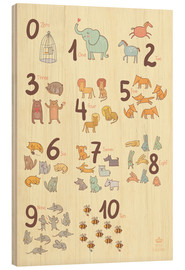 Wood print  Zoological numbers for nursery - Petit Griffin