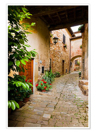 Poster Mediterranean alley in Tuscany