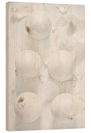 Wood print  Onion still life in white - K&L Food Style