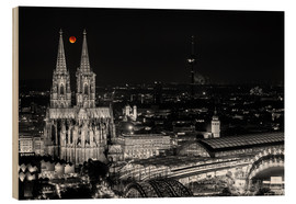 Wood print  Blutmond over the Cologne Cathedral - rclassen