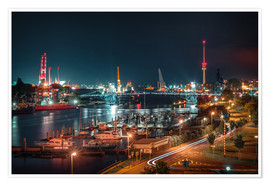 Premium poster  Kaiser Wilhelm Bridge and marina in Wilhelmshaven from above - Rainer Ganske