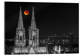 Acrylic glass  Blood Red Moon Cologne Cathedral - rclassen