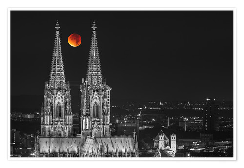 Premium poster Blood Red Moon Cologne Cathedral