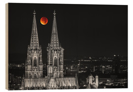 Wood print  Blood Red Moon Cologne Cathedral - rclassen