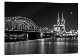Acrylic print  Cologne Cathedral and Hohenzollern Bridge at night (b / w) - rclassen