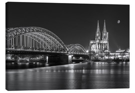 Canvas print  Cologne Cathedral and Hohenzollern Bridge at night (b / w) - rclassen