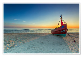 Poster Fishing boat on the Baltic Sea Usedom beach