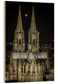 Wood print  Blood moon shines over Cologne Cathedral - rclassen