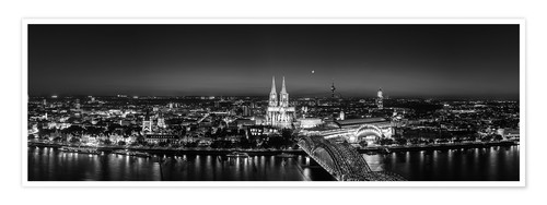 Premium poster Panorama of the Cologne skyline, Germany