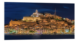 Foam board print  Ibiza Spain castle by night - Fine Art Images
