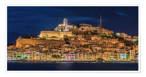 Premium poster Ibiza Spain castle by night