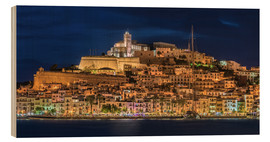 Wood print  Ibiza Spain castle by night - Fine Art Images