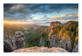 Premium poster  Saxon Switzerland Sunrise - Michael Valjak
