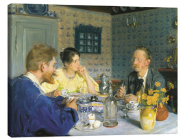 Canvas print  A luncheon. The artist, his wife and the writer Otto Benzon - Peder Severin Krøyer