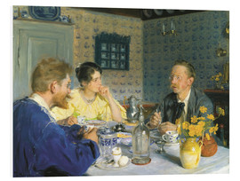 Foam board print  A luncheon. The artist, his wife and the writer Otto Benzon - Peder Severin Krøyer