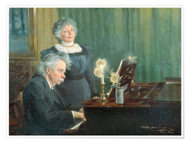 Premium poster Edvard Grieg accompanying his Wife