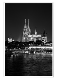 Premium poster Cologne Cathedral at night